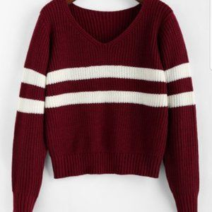 ZAFUL Striped V Neck Jumper Sweater with tag
